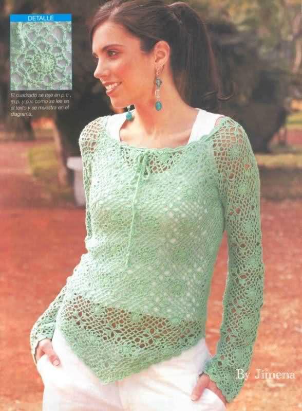 Crochet - Sueter de mangas cortas 2925pxl