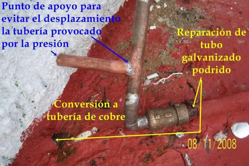 Reparación de tubo roto con coples de compresión 2ey99ud