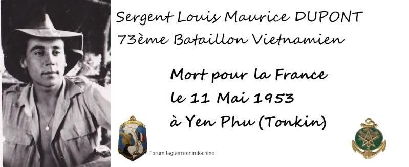 Sergent Louis Maurice DUPONT Bataillon Muong 73ème BVN MPLF 1953 24uw945