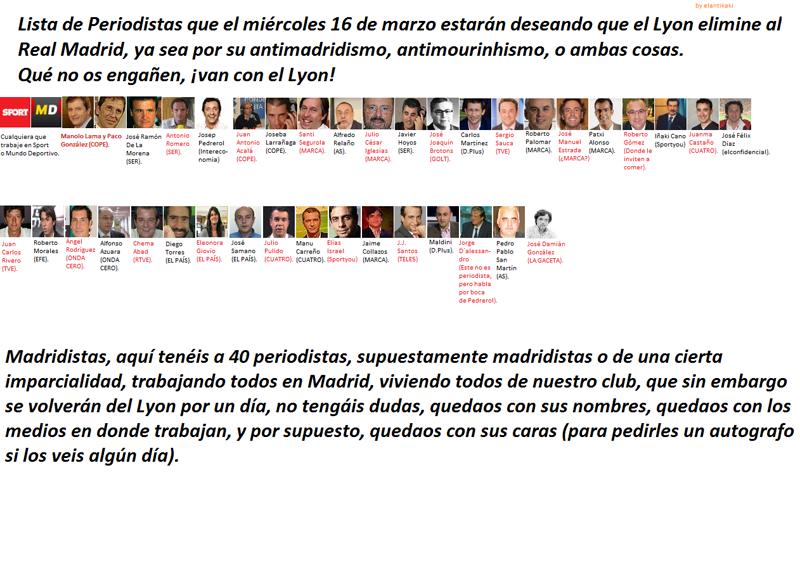 Lista de periodistas que el miércoles 16 de marzo desean que el Lyon elimine al Madrid 29m9mo1