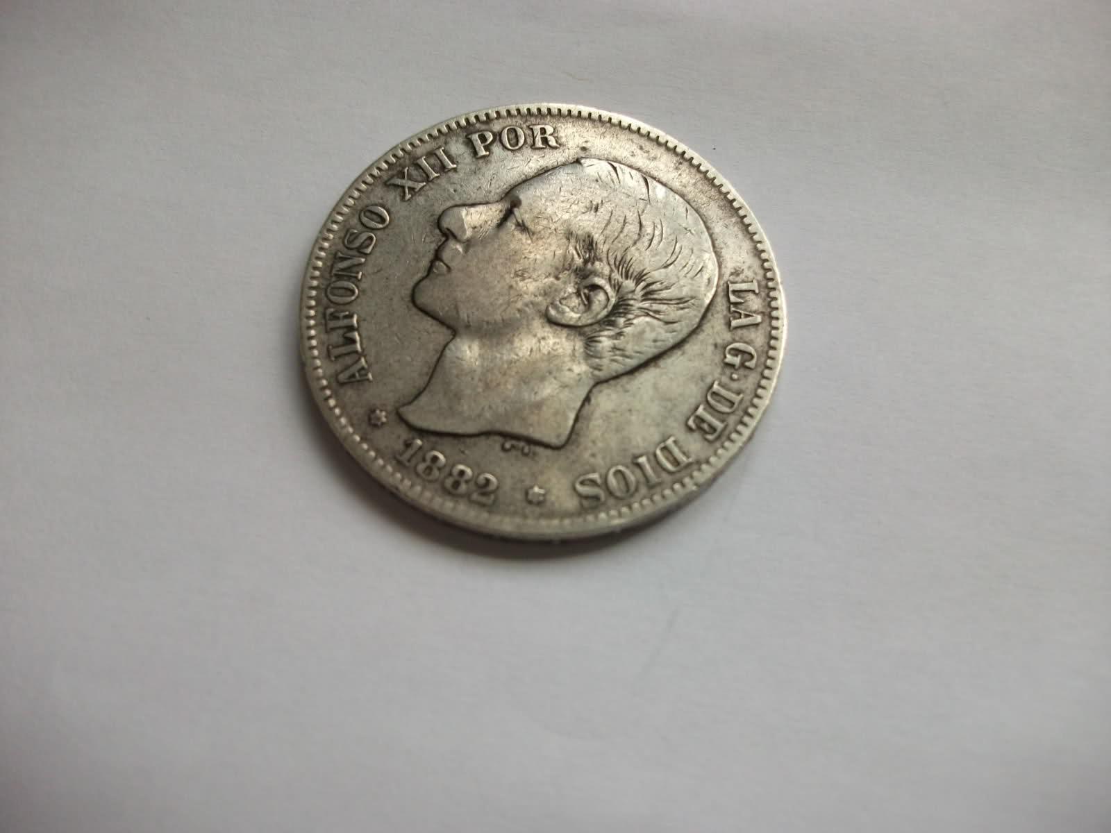 5 ptas de plata Alfonso XII, marca en estrella al revés. 2hcopia