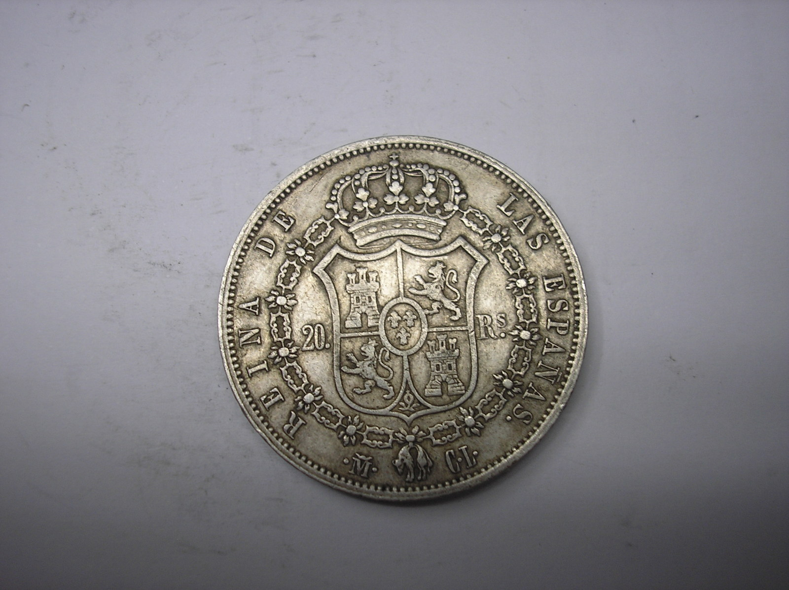 20 reales 1850 CL Isabel II Madrid 105xshu