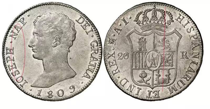 Diferencias en monedas de 20 Reales de Jose Bonaparte  15cblgj