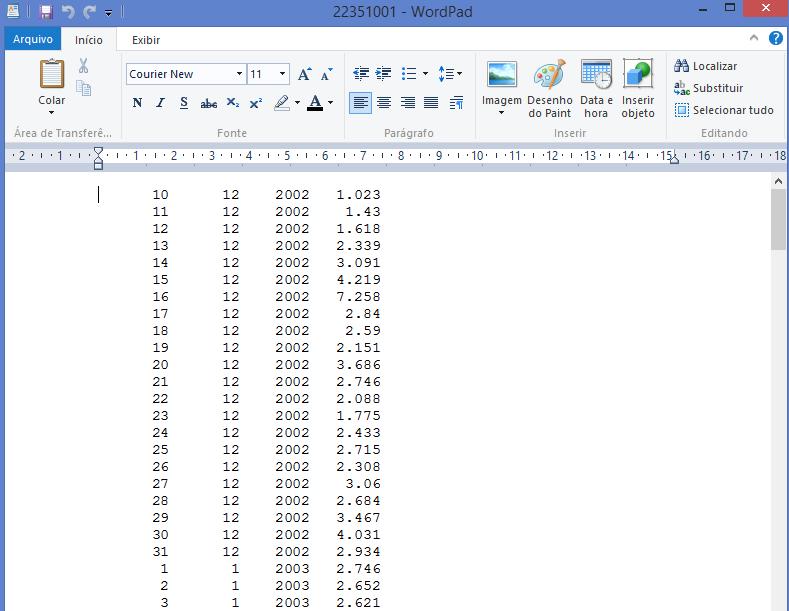 Erro ao ler arquivo de vazão no manejo de dados 20jg6dh