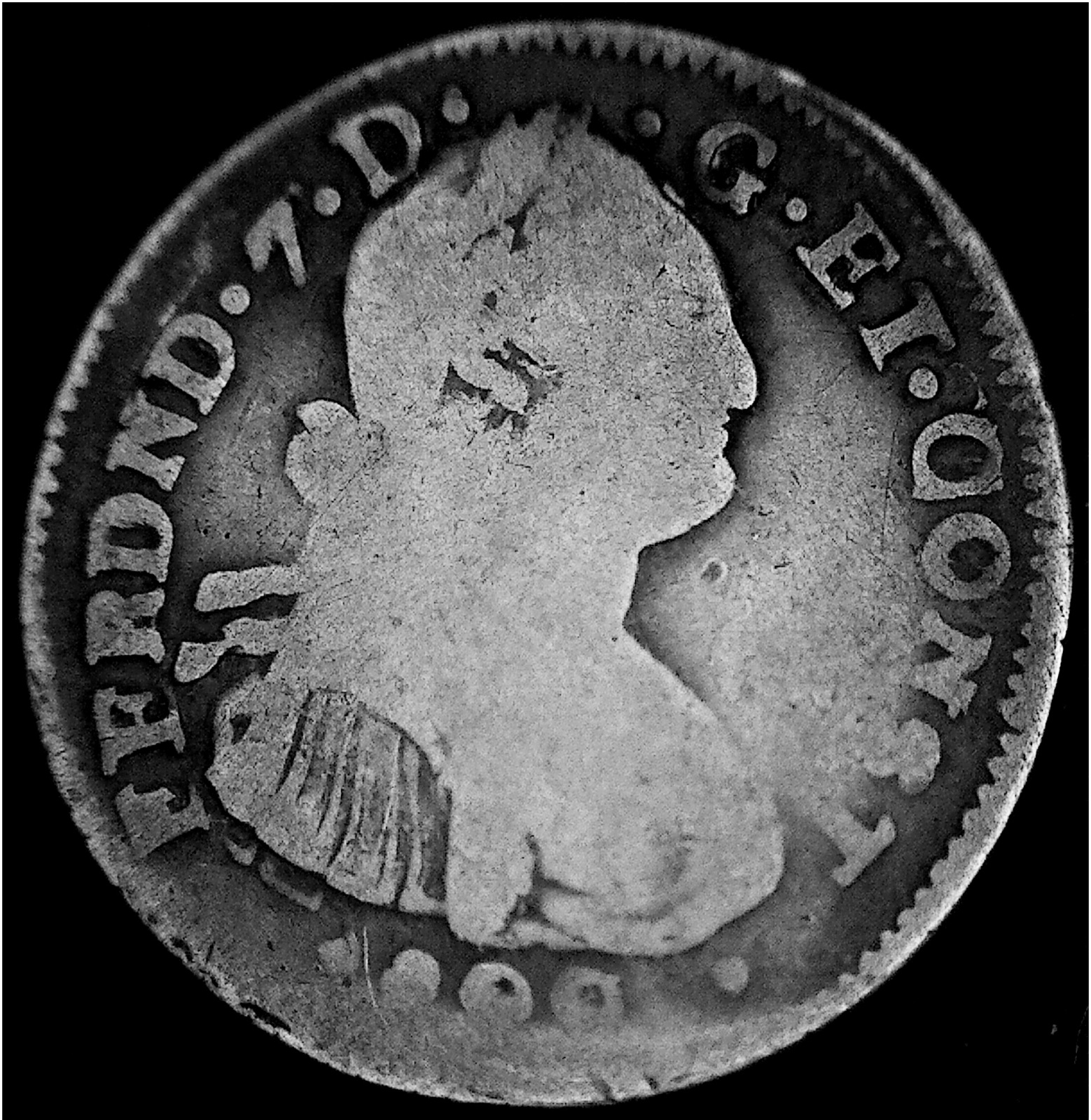 2 Reales de Fernando VII, Pasto, 1822. 24zi17b