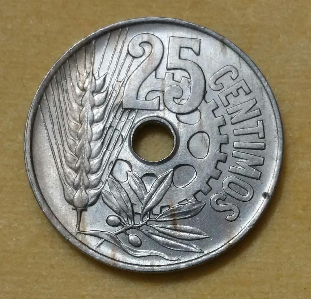 1925 - Serie completa 25 céntimos 1925, 1927, 1934 y 1937. 2ductxx