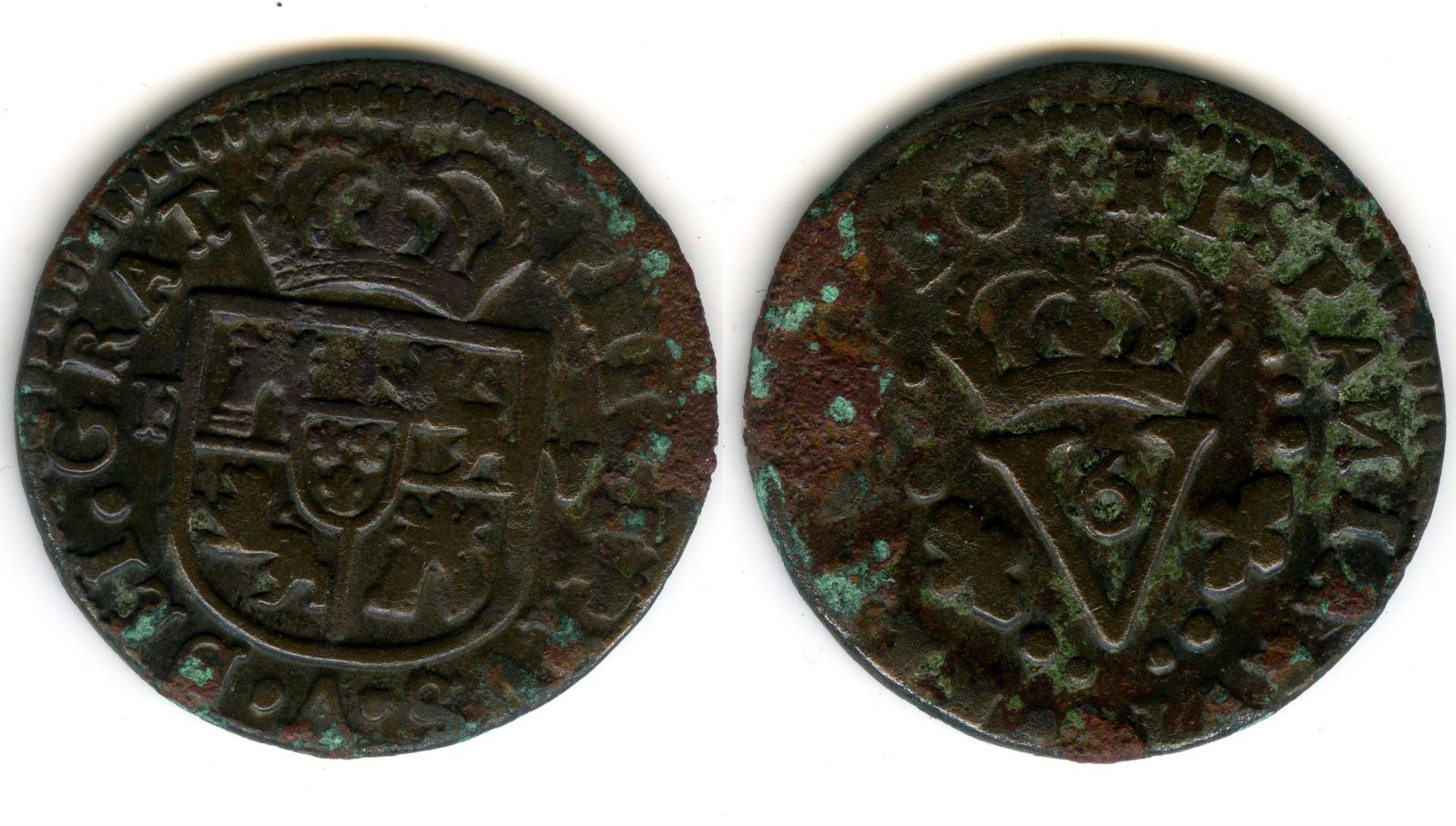 Seiseno de 1711, Felipe V. Valencia 2rgkleo