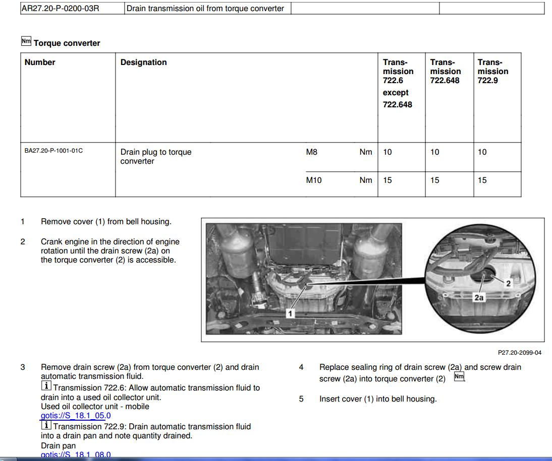 Troca Óleo transmissão 722.9xx e Conversor de torque - diferenças componentes câmbio 7G-Tronic Plus 2v30nrq