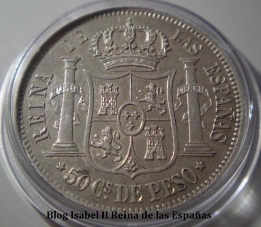 50 Centavos de Peso 1865 Isabel II - Manila.  308bdzn