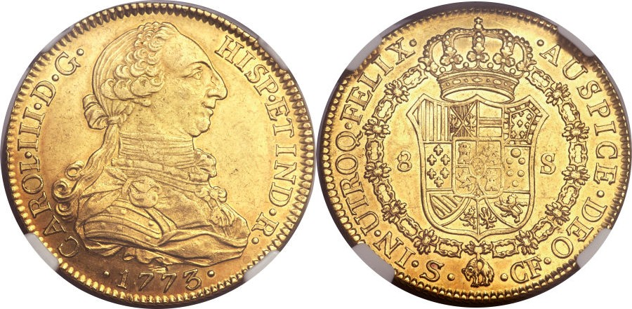 8 escudos de Carlos III, Sevilla. 1773. Ighpbb