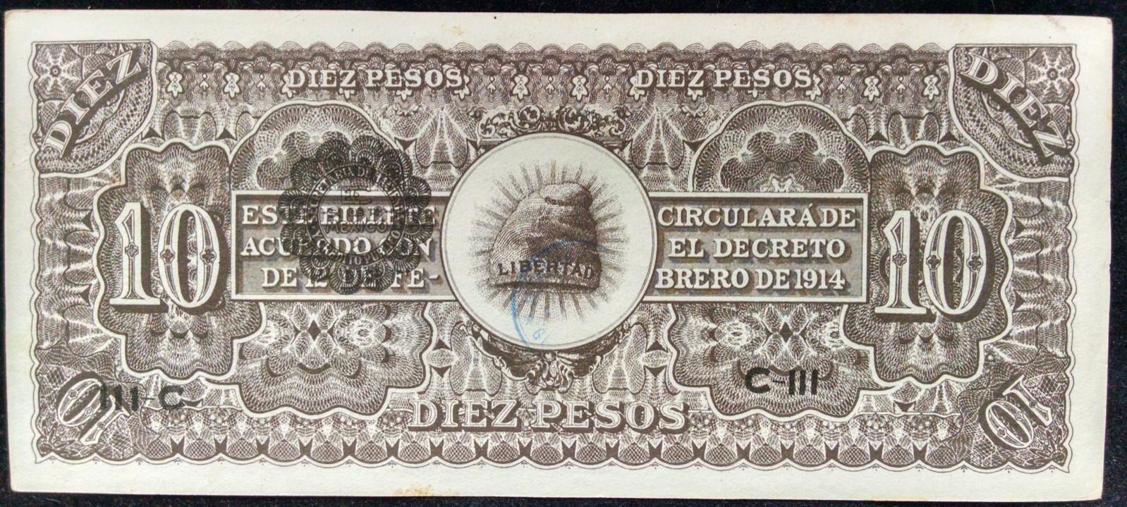 10 pesos Mexico 1914 Izm64z