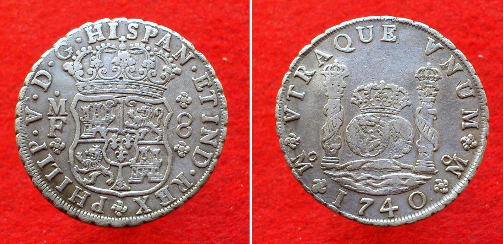 Real de a 8 columnario. Felipe V 1740. Pecio Hollandia Kyi3t