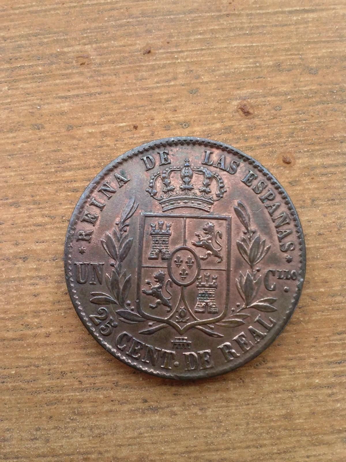 25 céntimos de real 1857. Isabel II. Segovia. N1pdzn