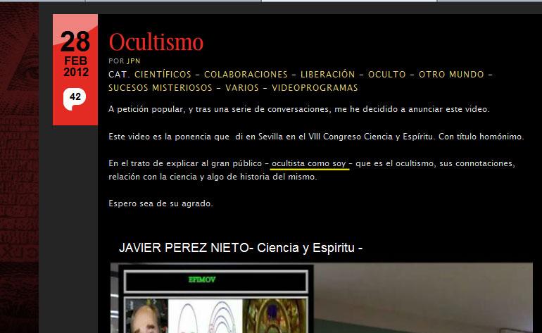 José Luis Camacho Espina de mundodesconocido.com reconoce ser OCULTISTA 21b692s