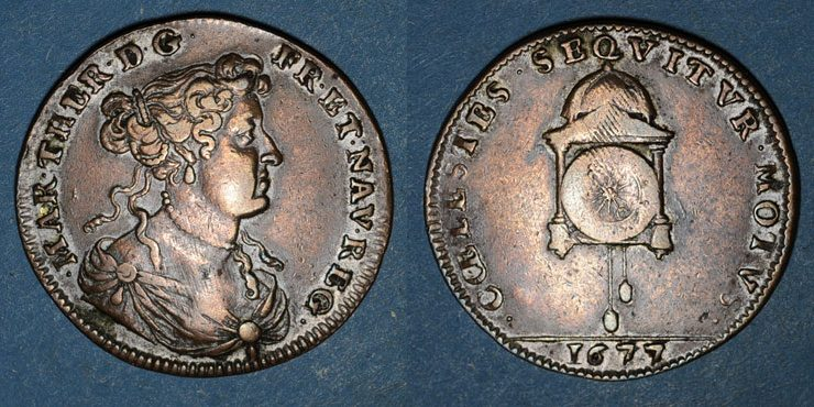 Jetón francés de María Teresa de Austria, esposa de Luis XIV. COELESTES SEQVITVR MOTVS 21eud61