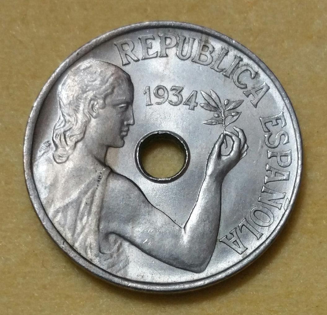 1925 - Serie completa 25 céntimos 1925, 1927, 1934 y 1937. 21j7zbm