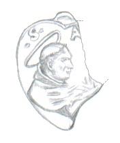Medalla S. Antonio de Padua / Crucifixión e inscripción S. XVII 261k9l1