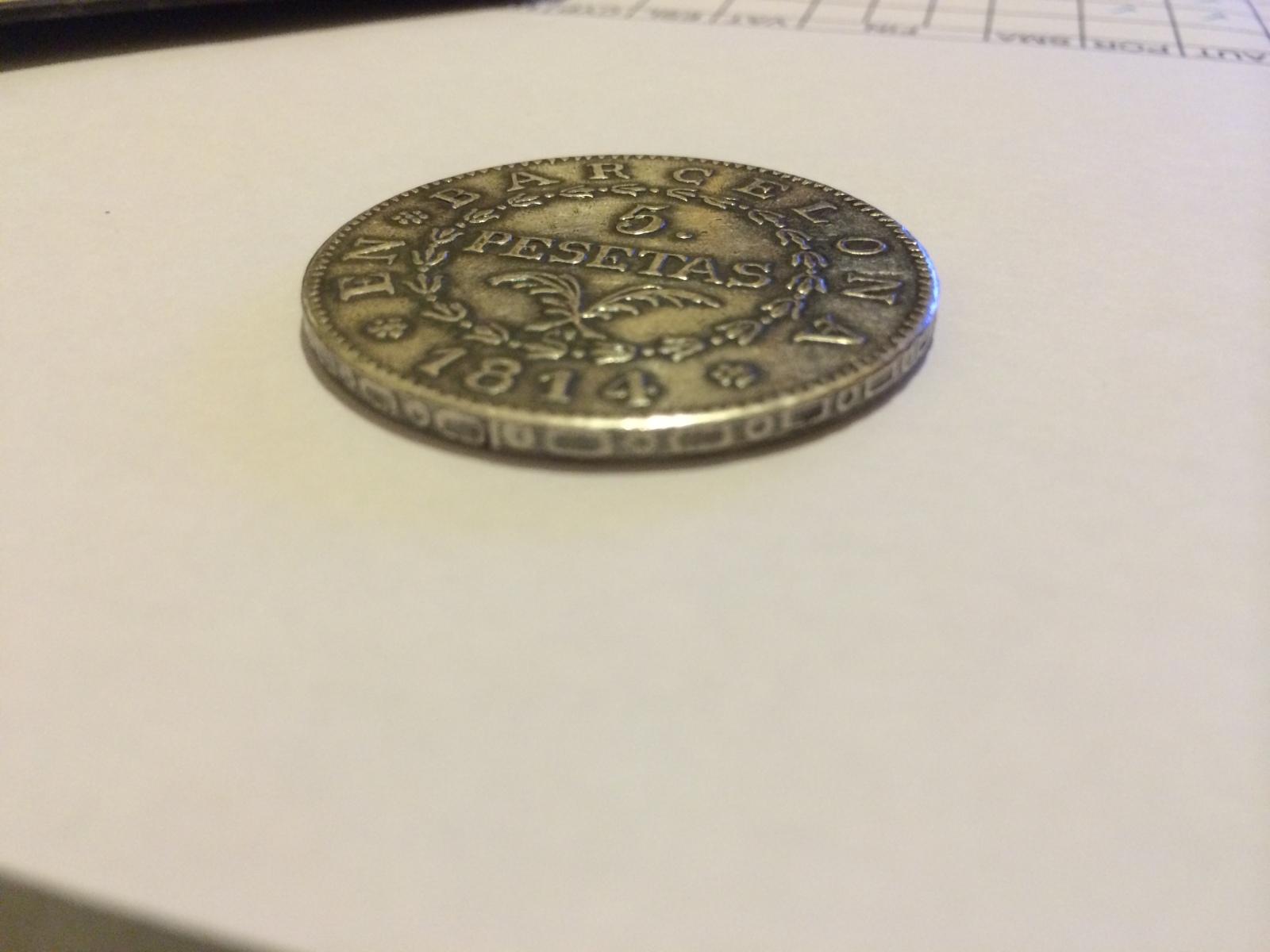 5 pesetas 1814 Barcelona - Ocupación Napoleónica 27x430y