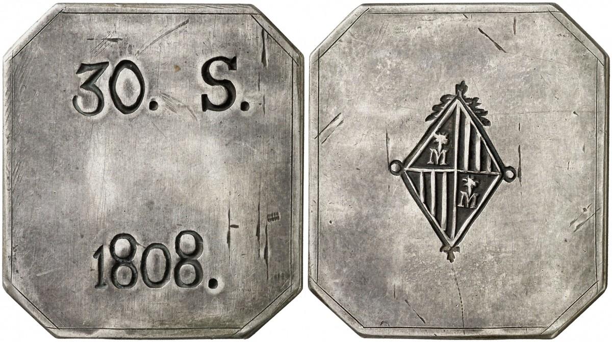 Sobre la variante 30 SOUS octogonal sin la leyenda FER. VII 28i5ged