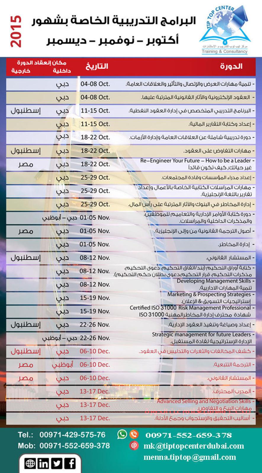 البرنامج التدريبي أكتوبر - نوفمبر - ديسمبر 2015 2l8b67r