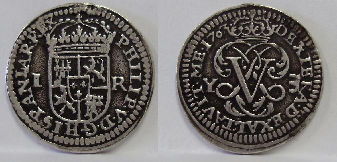 1 real de 1707. Felipe V ceca Ingenio de Segovia. 2lnhlrn
