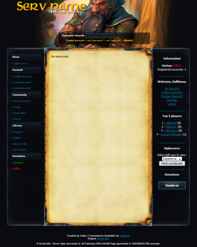 [Web] [Znote AAC] Dwarf Layout 2qa30oi