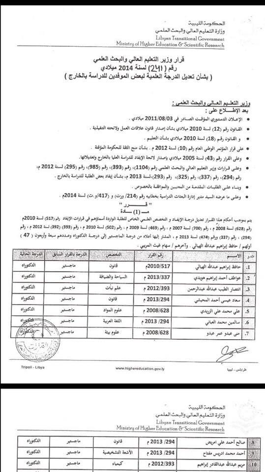 قرار  241تعديل درجة   لسنة 2014  ماستر دكتوراه 2r29g5h