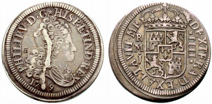 8 reales de 1709. Felipe V, Madrid. El primer busto y mas. 2rf96bb