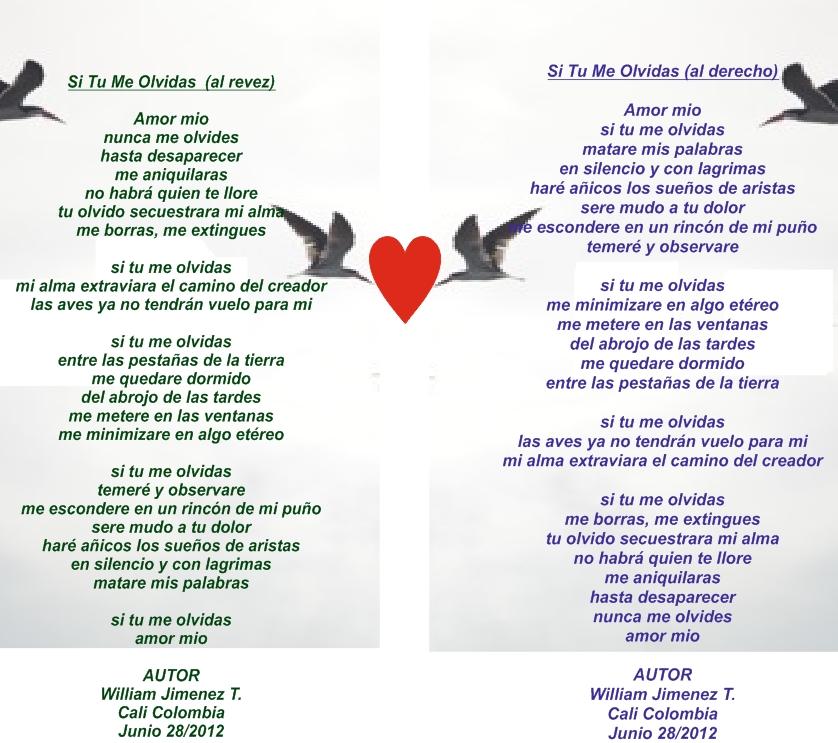 Si Tu Me Olvidas Poema Para Leer Al Derecho Y Al Revez