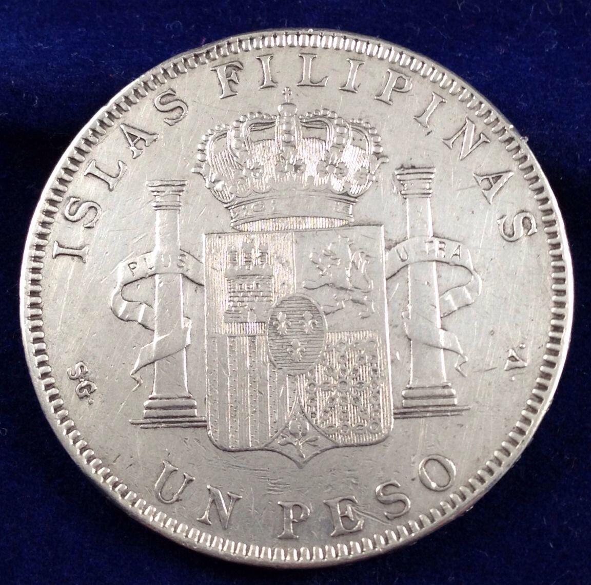 otro Peso 1897 Filipinas 5 Pesetas Manila  3150oyd