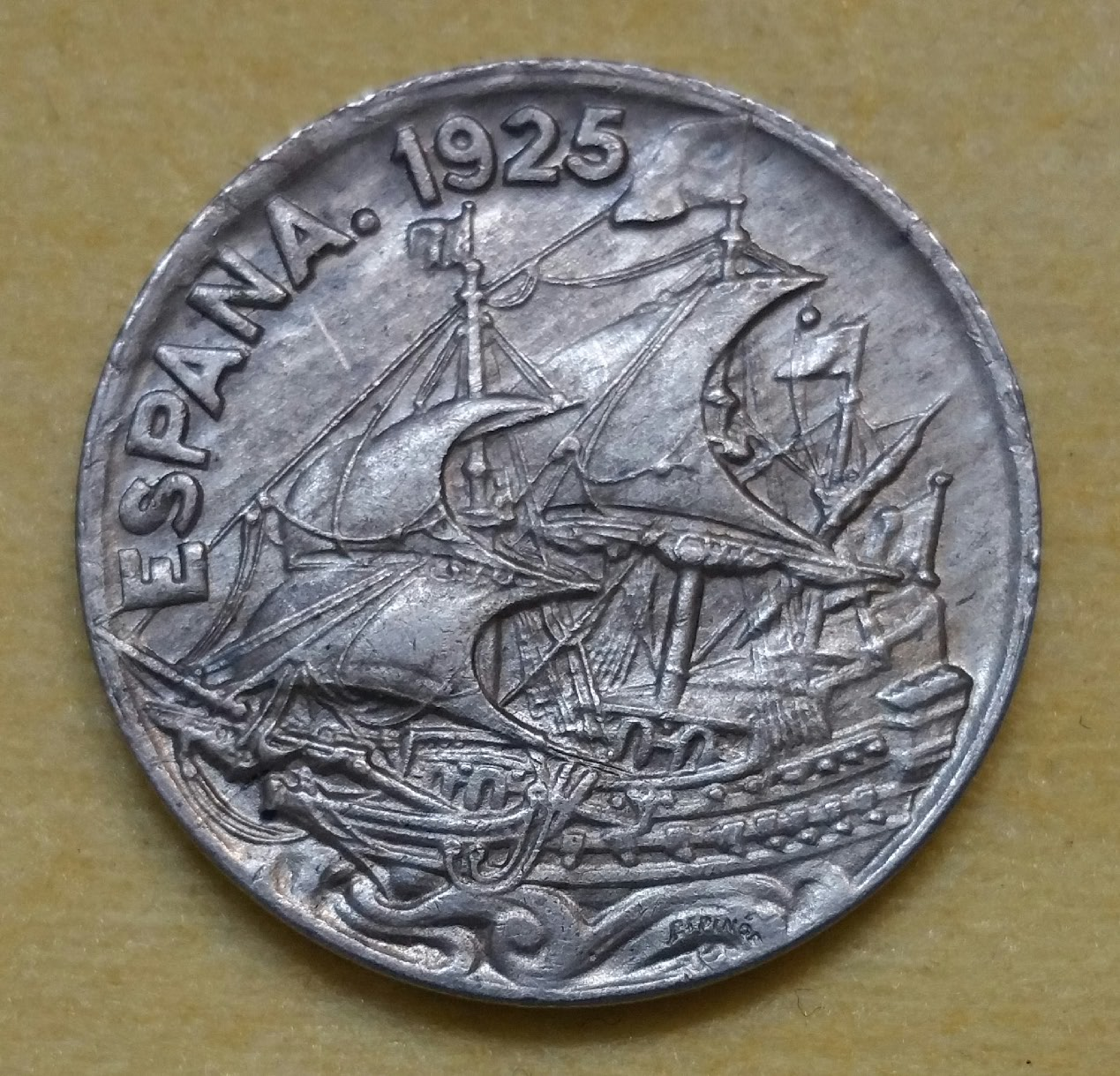 1925 - Serie completa 25 céntimos 1925, 1927, 1934 y 1937. Fbyiip