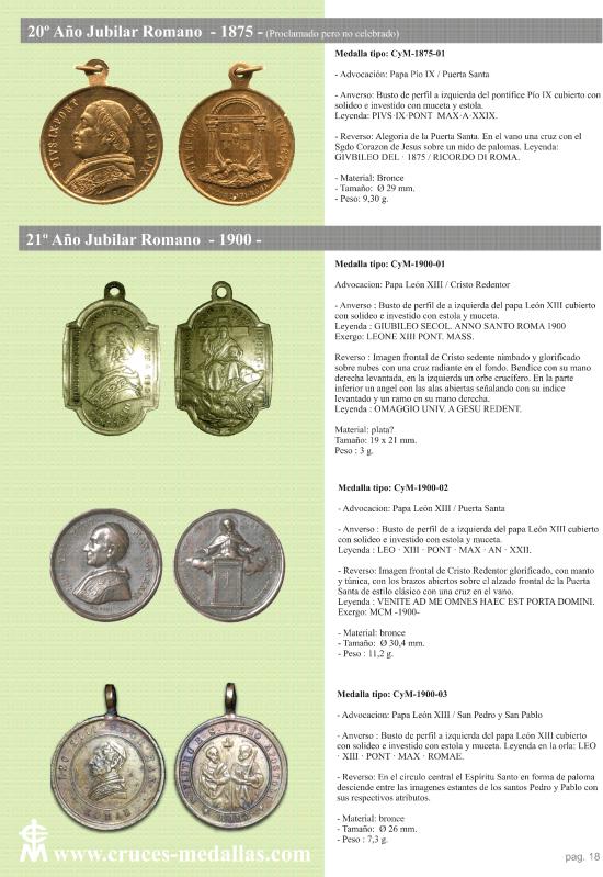 jubilares - Recopilación de medallas con fecha inscrita de los Años Jubilares Romanos  Mvrpxv