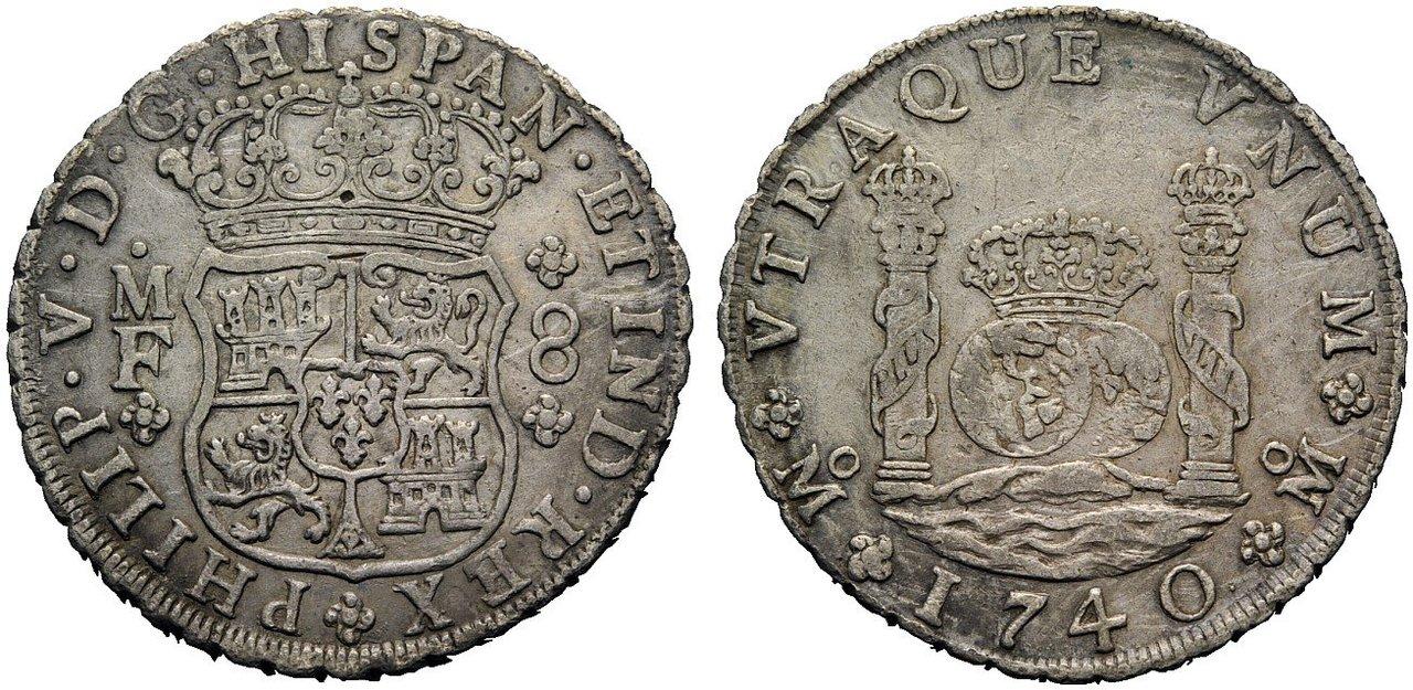 Real de a 8 columnario. Felipe V 1740. Pecio Hollandia Qqsgfs