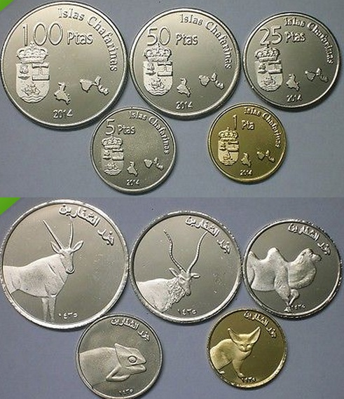 ISLAS CHAFARINAS Set 5pcs 2014 birds unusual coinage