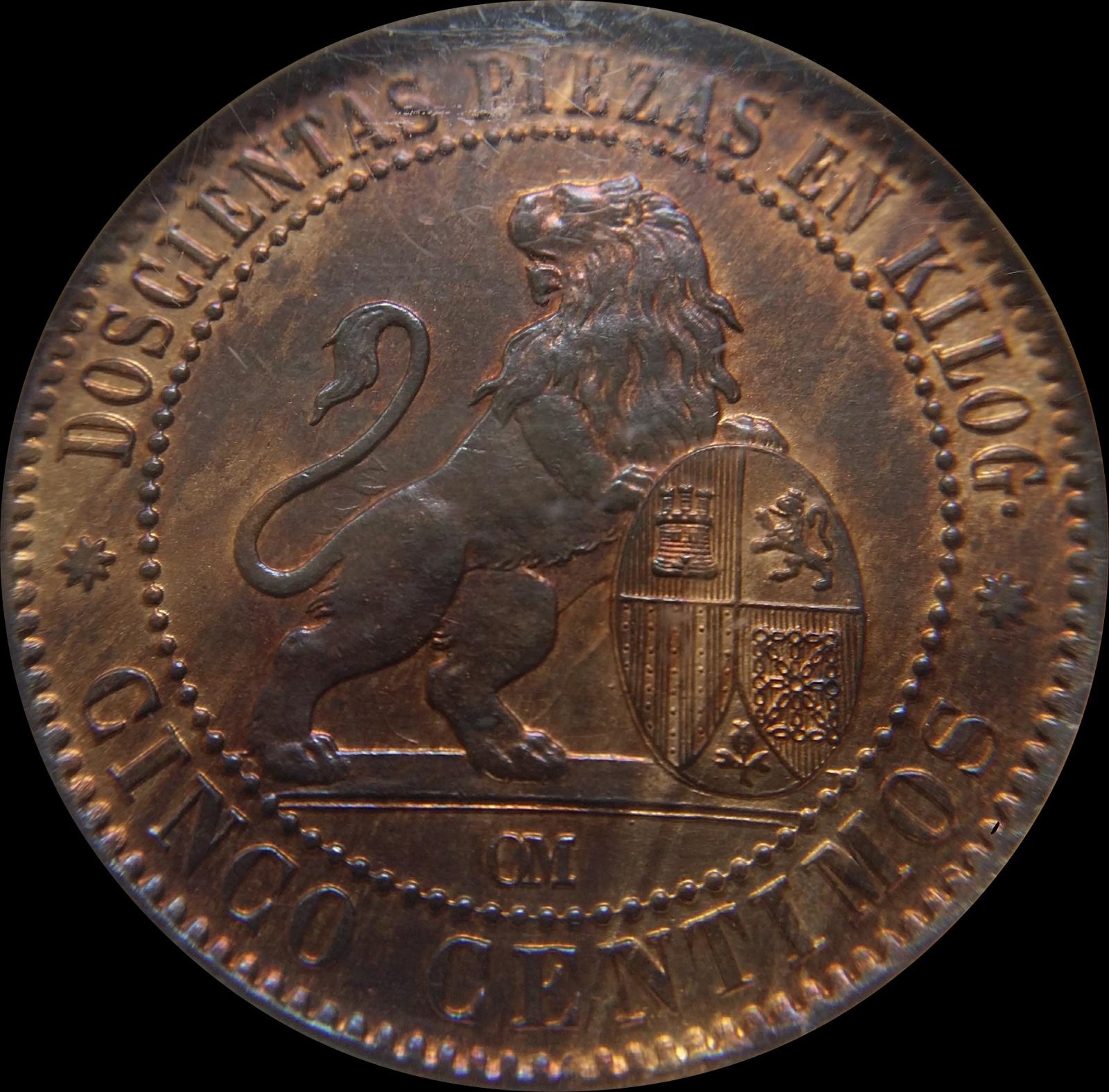 5 céntimos 1870 NGC MS 64 RB 1810ue