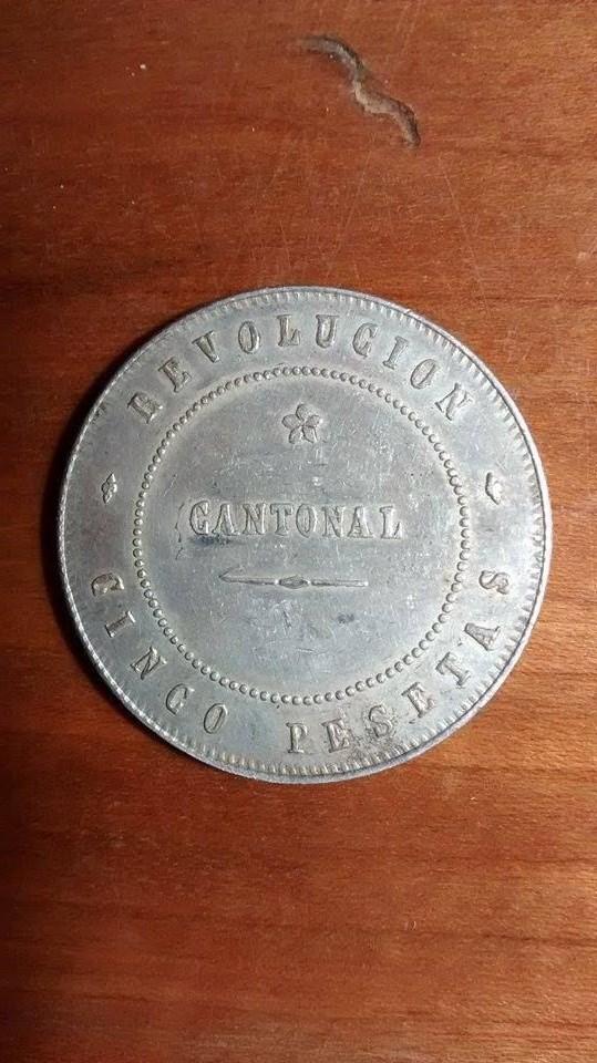 5 pesetas - Revolución cantonal, Cartagena 1873 DEDICADO AL COMPI CARTAGINESERO 21lu68m