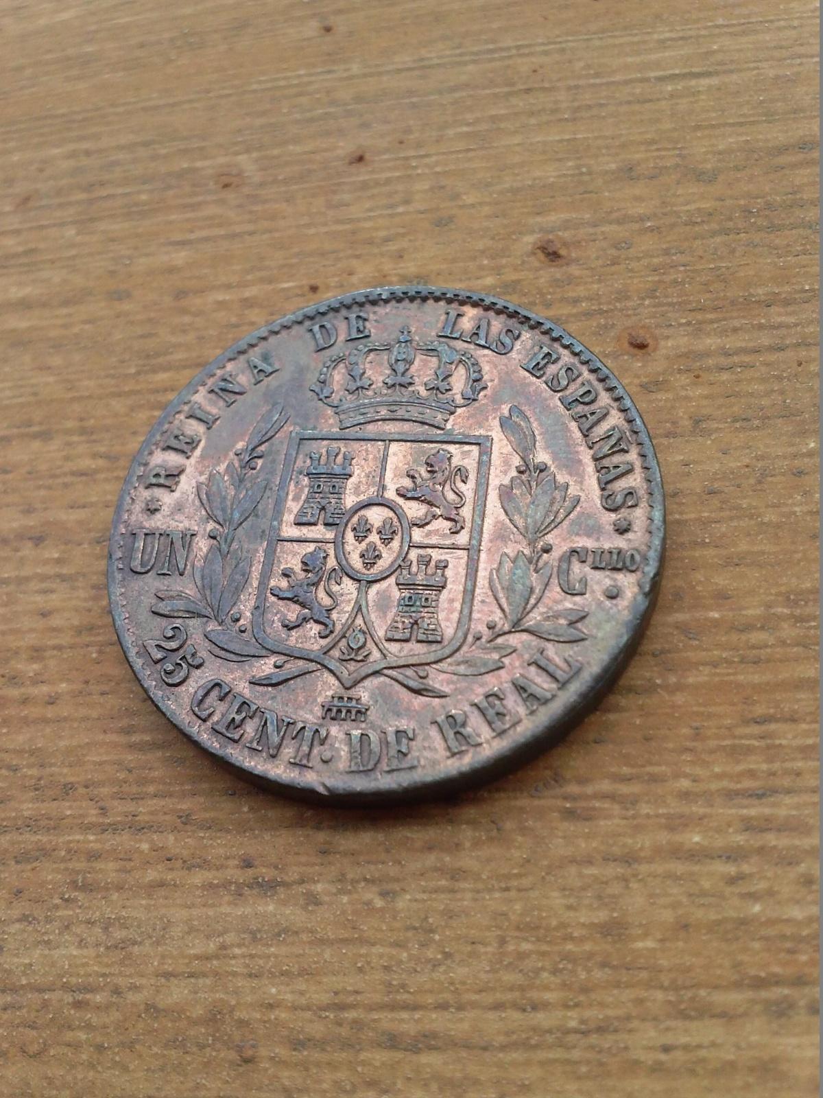 25 céntimos de real 1857. Isabel II. Segovia. 2aerq8p
