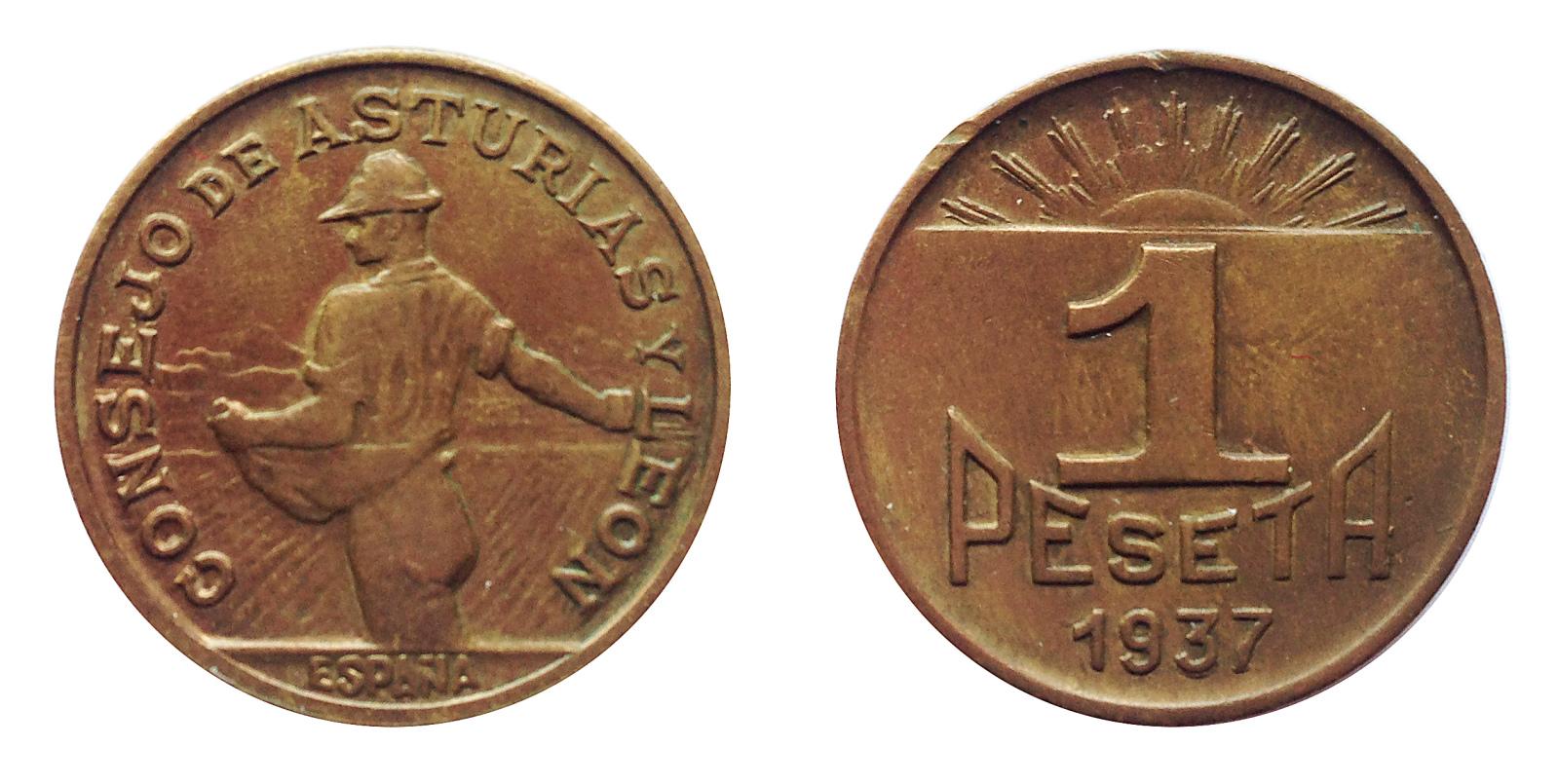 1 peseta 1937. Consejo de Asturias y León. 2lkz71s