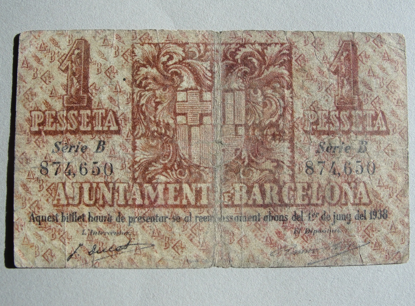 1 Peseta Barcelona, 1937 2s65uls