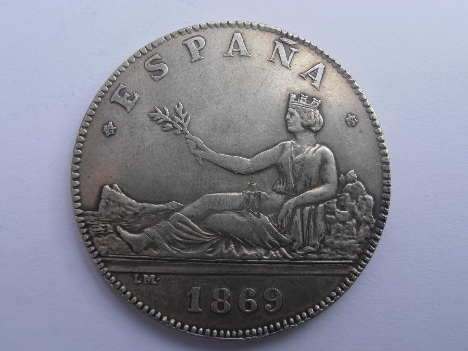 5 Pesetas 1869 Gobierno provisional 2vv84yw