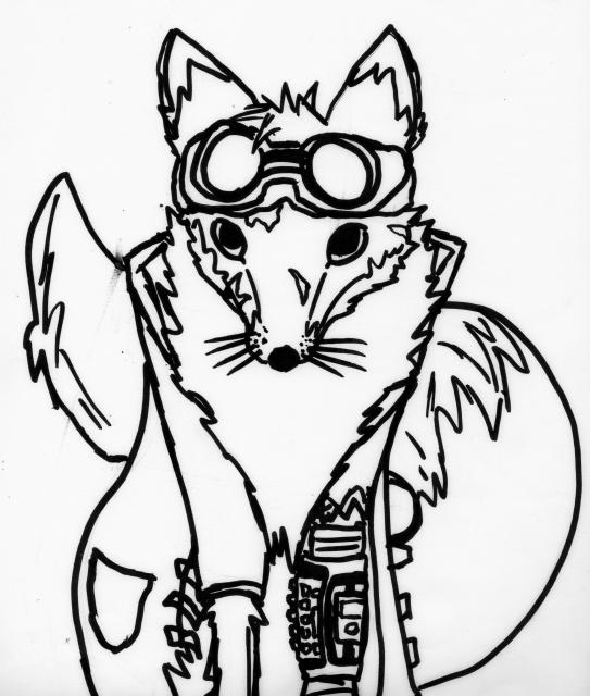 [Dessin] Le Visit... Euh, le renard du futur. (lineart au feutre) 2zipxmx