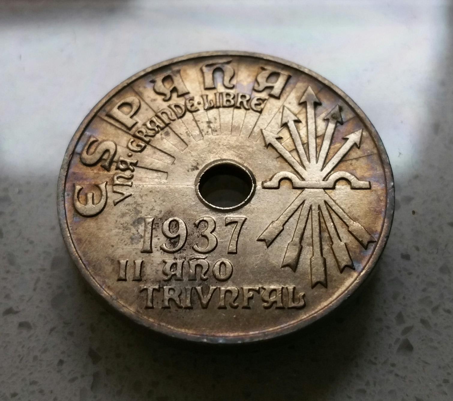 1925 - Serie completa 25 céntimos 1925, 1927, 1934 y 1937. B81y5y