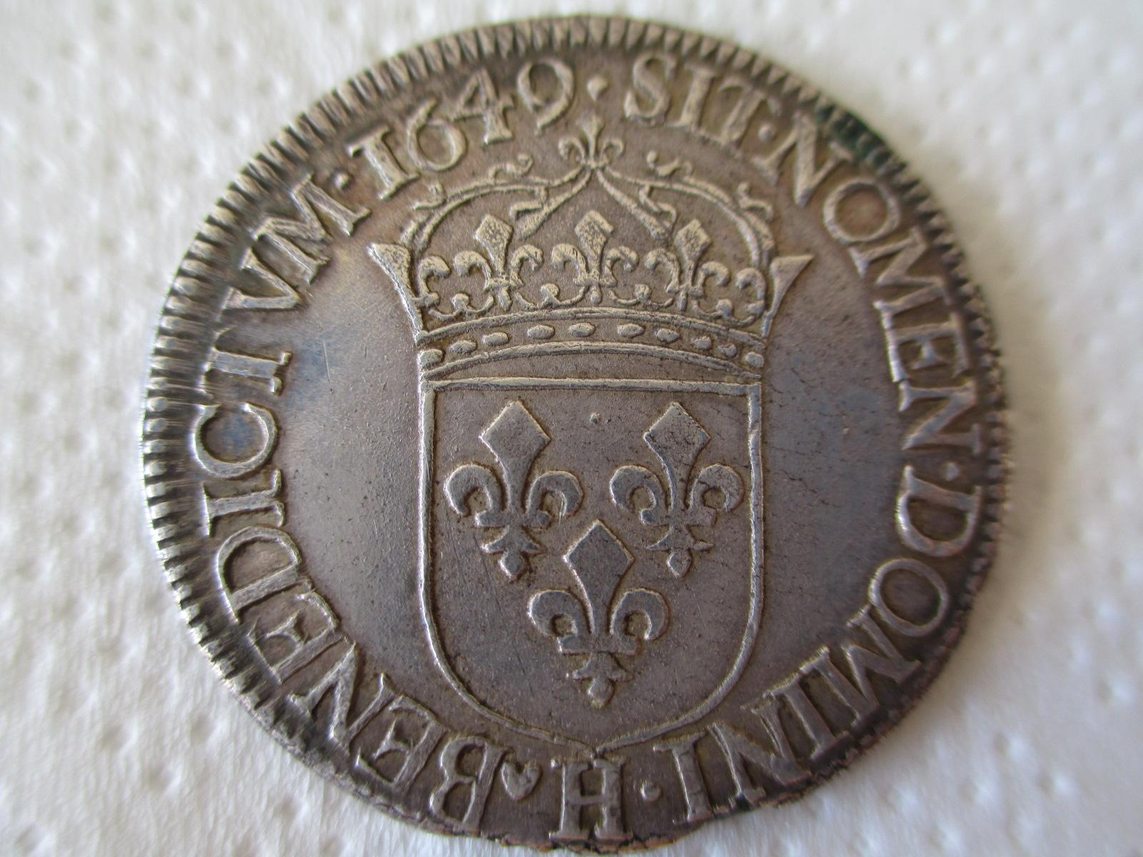 Medio Ecu. Francia 1649. Luis XIV. La Rochelle El5zps