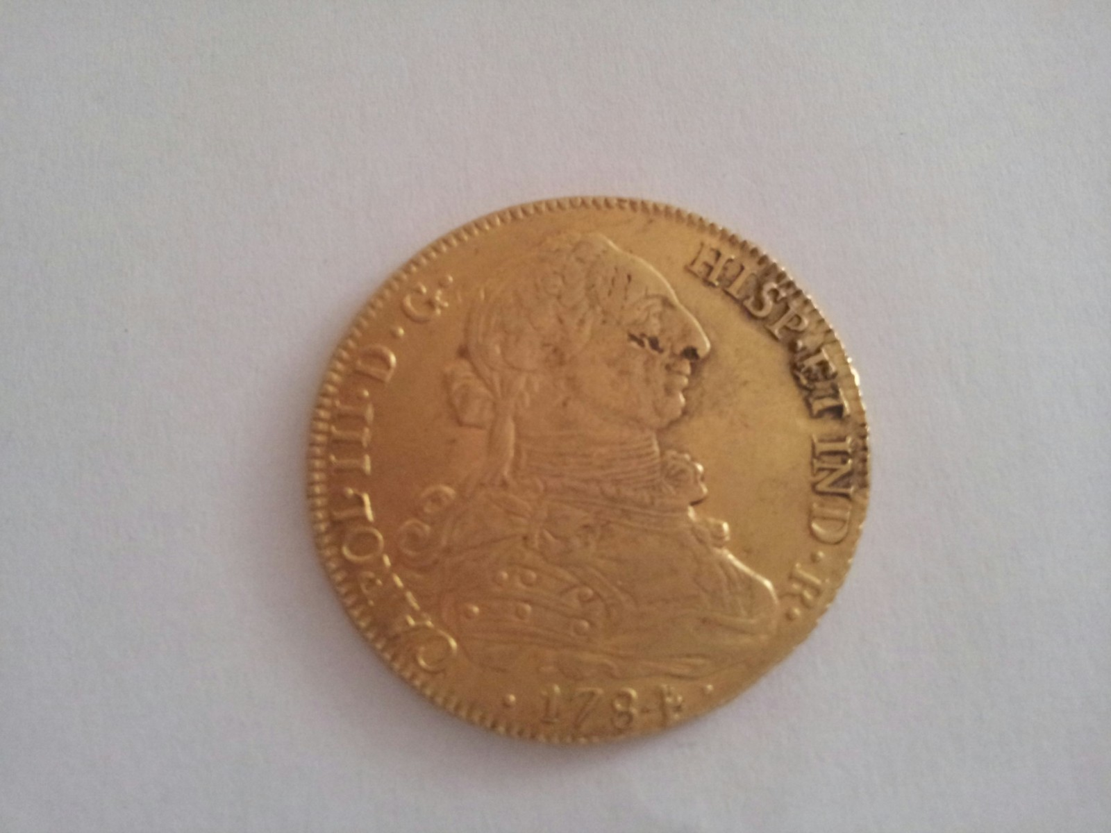 8 escudos Carlos III 1784 Santiago DA Ilvnva