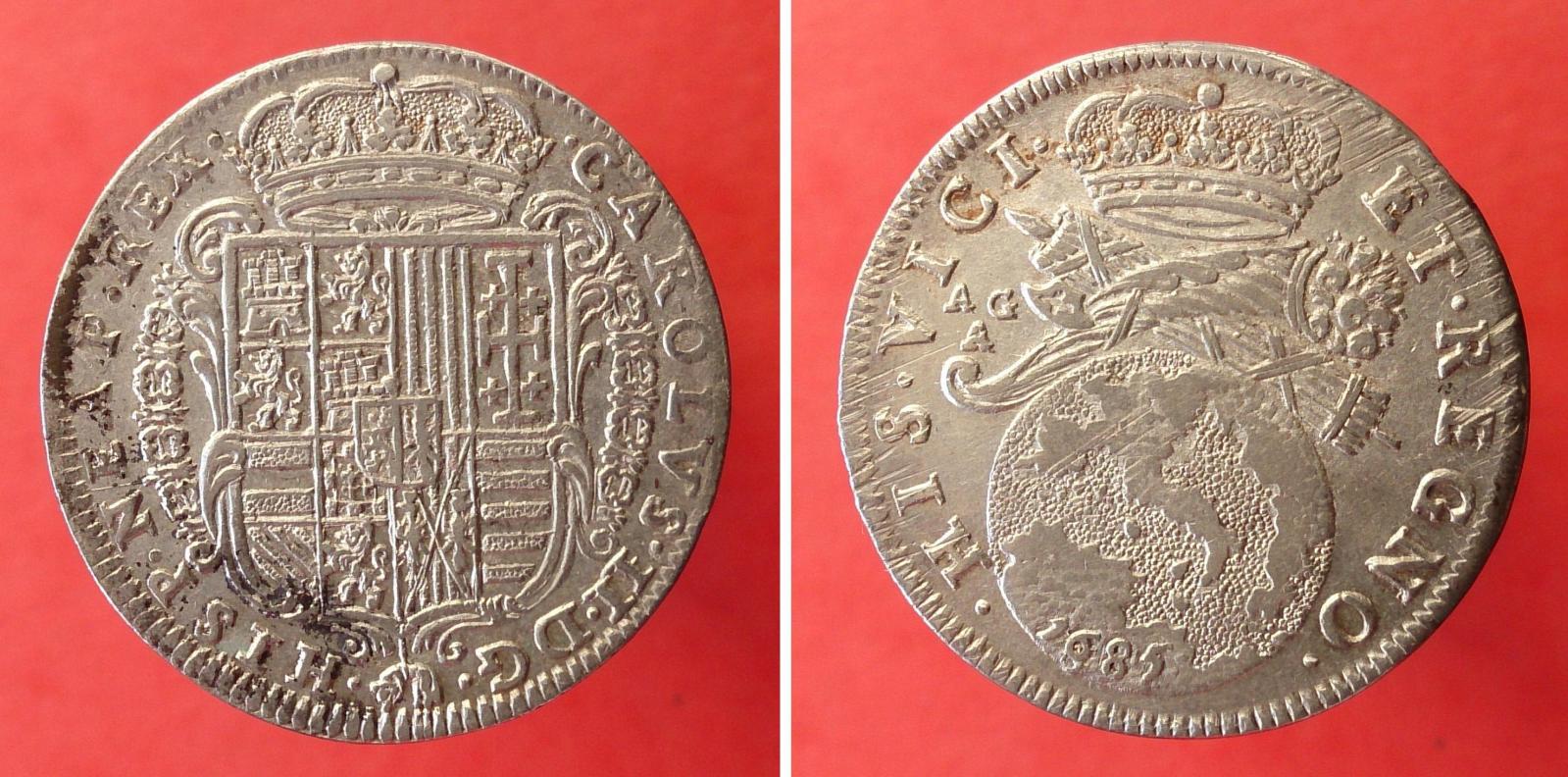 1 Tarí de Carlos II, 1685 ceca de Nápoles Jz8wv4