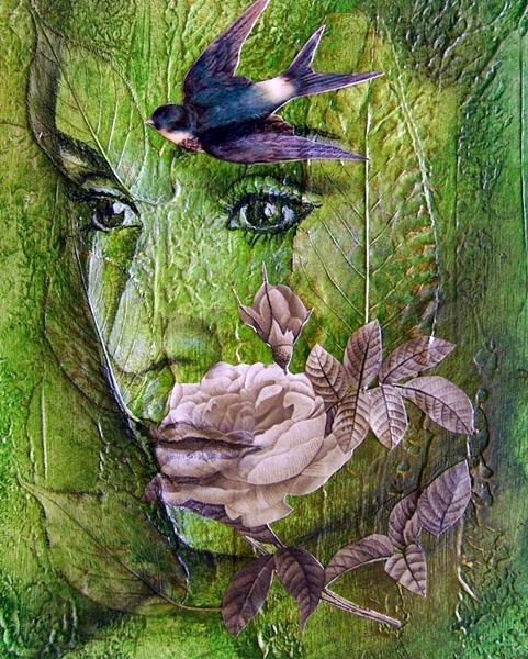 Caras de mujer hechas con flores Qqsa3d