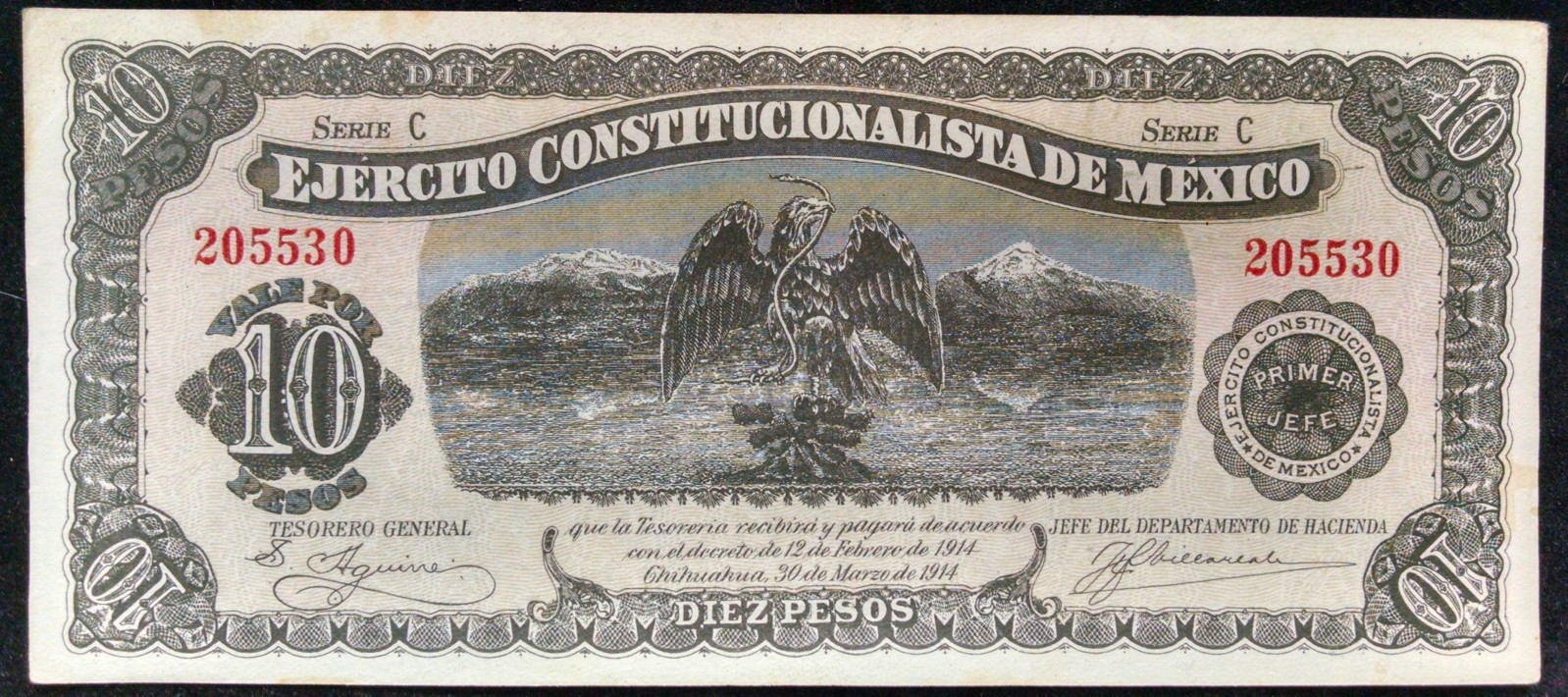 10 pesos Mexico 1914 14cd279