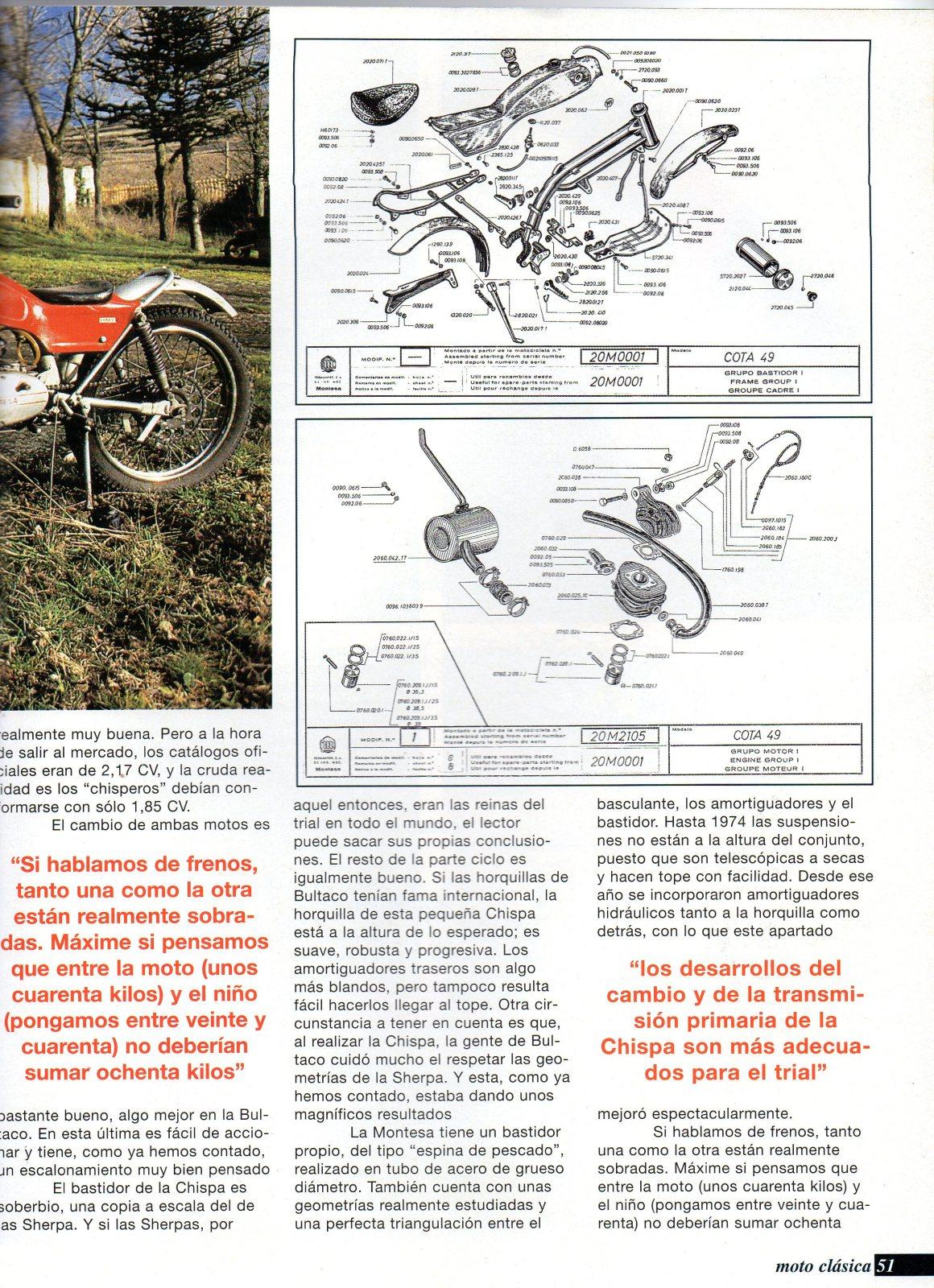 Comparativa Cota 25 con Bultaco chispa 154gk5i