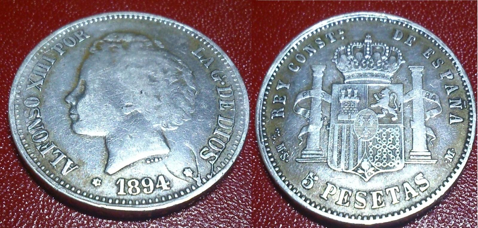 Identificar una moneda Alfonso XIII  5 Pesetas  1894 208cw01
