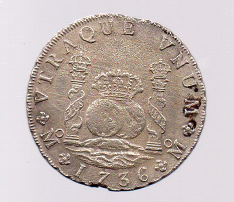 8 reales 1736 MF columnaria  ayuda 20t5noj